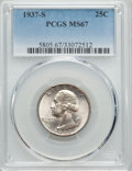 Washington Quarters, 1937-S 25C MS67 PCGS. PCGS Population (36/0). NGC Census: (28/0).Mintage: 1,652,000. Numismedia Wsl. Price for problem fre...