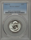 Washington Quarters, 1963-D 25C MS67 PCGS. PCGS Population (22/0). NGC Census: (32/0).Mintage: 135,288,192. Numismedia Wsl. Price for problem f...