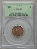 Proof Indian Cents: , 1866 1C PR65 Red and Brown PCGS. PCGS Population (53/11). NGC Census: (34/10). Mintage: 725. Numismedia Wsl. Price for prob...
