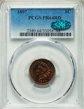 Proof Indian Cents: , 1897 1C PR64 Red PCGS. CAC. PCGS Population (22/23). NGC Census: (8/9). Mintage: 1,938. Numismedia Wsl. Price for problem f...