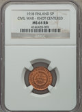 Finland, Finland: Civil War - Liberated Finnish Government 5 Pennia 1918 MS64 Red and Brown NGC,...