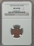 Finland:Russian Duchy, Finland: Russian Duchy Penni 1870 MS64 Red and Brown NGC,...
