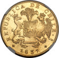 Chile, Chile: Republic gold 8 Escudos 1837 So-IJ MS62 NGC,...