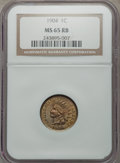 Indian Cents: , 1904 1C MS65 Red and Brown NGC. NGC Census: (123/17). PCGS Population (88/1). Mintage: 61,328,016. Numismedia Wsl. Price fo...