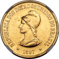 Brazil, Brazil: Republic gold 20000 Reis 1897 AU Details (Excessive SurfaceHairlines) NGC,...