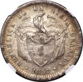 Colombia, Colombia: Republic Peso 1857 AU58 NGC,...