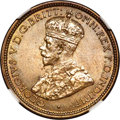 British West Africa, British West Africa: George V tin-brass 6 Pence 1933 MS65 NGC,...