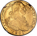 Colombia, Colombia: Charles IV gold 8 Escudos 1801 NR-JJ MS62 NGC,...