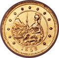 California Fractional Gold , 1853 50C Arms of California 50 Cents, BG-435, Low R.5, MS64 NGC....