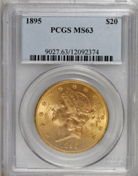 1895 $20 MS63 PCGS. PCGS Population (1312/208). NGC Census: (2470/378). Mintage: 1,114,656. Numismedia Wsl. Price for NG...