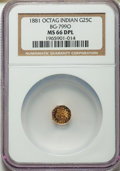 , 1881 25C BG-799O MS66 Deep Mirror Prooflike NGC. NGC Census: (5/1)....