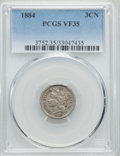 Three Cent Nickels: , 1884 3CN VF35 PCGS. PCGS Population (7/47). NGC Census: (2/28). Mintage: 1,700. Numismedia Wsl. Price for problem free NGC/...