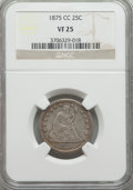 Seated Quarters: , 1875-CC 25C VF25 NGC. NGC Census: (4/40). PCGS Population (9/76). Mintage: 140,000. Numismedia Wsl. Price for problem free ...