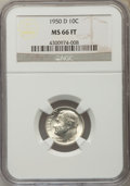 Roosevelt Dimes, 1950-D 10C MS66 Full Bands NGC. NGC Census: (294/237). PCGS Population (683/152). Mintage: 46,803,000. Numismedia Wsl. Pric...