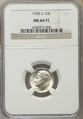 Roosevelt Dimes, 1950-D 10C MS66 Full Bands NGC. NGC Census: (294/237). PCGS Population (682/150). Mintage: 46,803,000. Numismedia Wsl. Pric...