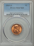 Lincoln Cents, 1969-D 1C MS67 Red PCGS....
