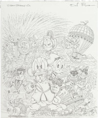 Don Rosa Gladstone Comic Album #28 Uncle Scrooge & Donald Duck Cover Preliminary Sketch Original Art (Gladstone, 1...