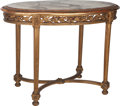 Furniture : French, A Neoclassical Giltwood Center Table with Marble Top, 20th century.26 inches high x 34-1/2 inches wide x 23-1/4 inches deep...