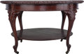 Furniture , A Late Victorian Mahogany Library Table with Inset Leather Top, circa 1900. 30 inches high x 50 inches diameter (76.2 x 127 ...