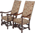 Furniture : French, A Pair of Louis XIII-Style Upholstered Mahogany Armchairs, late19th century. 47 inches high x 25 inches wide x 20 inches de...(Total: 2 Items)