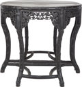 Asian:Japanese, A Pair of Asian-Style Carved Wood Demilune Tables with Marble Tops,20th century. 34-1/2 inches high x 39 inches wide x 19-1... (Total:2 Items)