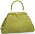 "Luxury Accessories:Accessories, Judith Leiber Green Patent Leather Top Handle Bag with Silver Hardware. Good Condition. 11"" Width x 7"" Height x 3"" Dep..."