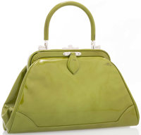 "Judith Leiber Green Patent Leather Top Handle Bag with Silver Hardware Good Condition 11"" Width x"