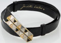 "Luxury Accessories:Accessories, Judith Leiber Black Alligator & Rose Quartz Belt with Silverand Gold Hardware. Very Good Condition. 39"" Maximum Length x..."