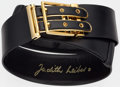 "Luxury Accessories:Accessories, Judith Leiber Black Leather Belt. Good to Very Good Condition.1.5"" Width x 31.5"" Length. ..."
