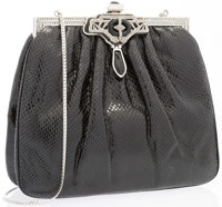 """Judith Leiber Black Karung Evening Bag Very Good to Excellent Condition 7"""" Width x 6"""" Height x 2"""""""
