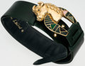 "Luxury Accessories:Accessories, Judith Leiber Green Lizard Belt with Taurus Buckle. Good to VeryGood Condition. 20""-36"" Length x 2"" Width. ..."