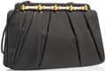 """Luxury Accessories:Accessories, Judith Leiber Black Karung & Black Onyx Evening Bag with Silver and Gold Hardware. Very Good Condition. 11"""" Width x 7""""..."""