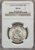 Colombia, Colombia: Republic 50 Centavos 1934 MS64 NGC,...