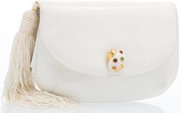 "Judith Leiber White Karung Evening Bag Good Condition 8"" Width x 5"" Height x 1.5"" Depth"
