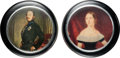 Miscellaneous:Ephemera, Set of glass paperweights with photographs. Queen Victoria by A. Penley, ca. 1840 [and:] The Prince ... (Total: 2 Items)