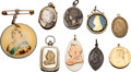 Miscellaneous:Ephemera, Group of six pendants; silver; copper on ivory; celluloid; brass,enamel and glass; brass; copper, mid to late 19th century an...(Total: 9 Items)