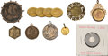 Miscellaneous:Ephemera, Group of two coins, three brooches; and four pendants, includingone swivel bezel pendant. Gilt alloy. 1860 to 1901.. ... (Total: 9Items)