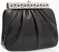 """Judith Leiber Black Karung Evening Bag Very Good to Excellent Condition 8"""" Width x 7"""" Height x 2"""""""
