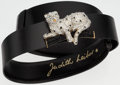 "Luxury Accessories:Accessories, Judith Leiber Black Lizard & Crystal Belt. Good to Very Good Condition. 1"" Width x 31.5"" Length. ..."