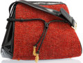 """Luxury Accessories:Accessories, Judith Leiber Red Tweed & Black Patent Leather Shoulder Bagwith Gold Hardware. Good Condition. 10.5"""" x 9"""" Height x4""""..."""