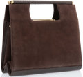 "Luxury Accessories:Accessories, Judith Leiber Brown Suede & Karung Tote with Gold Hardware.Very Good Condition. 10"" Width x 9"" Height 3"" Width...."
