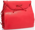 "Luxury Accessories:Accessories, Judith Leiber Red Lambskin Leather Shoulder Bag with Gold Hardware.Very Good Condition. 10"" Width x 10"" Height x 3"" W..."