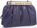 "Luxury Accessories:Accessories, Judith Leiber Purple Karung Evening Bag. Very Good Condition. 9"" Width x 6.5"" Height x 2"" Depth. ..."