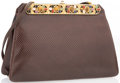 "Luxury Accessories:Accessories, Judith Leiber Brown Karung Clutch Bag. Very Good Condition.8.5"" Width x 6"" Height x 2.5"" Depth. ..."