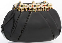 """Judith Leiber Black Lizard Evening Bag with Crystal Detail Excellent Condition 8.5"""" Width x 6"""" He"""
