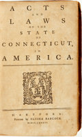 Books:Americana & American History, [Connecticut]. Acts and Laws of the State of Connecticut, inAmerica. Hartford: Printed by Elisha Babcock, 1786....