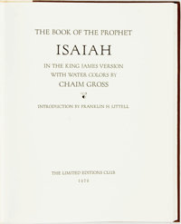 Chaim Gross, illustrator. SIGNED/LIMITED. Franklin H. Littel, introduction. The Book of the Prophet Isaiah in t