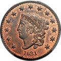 Proof Large Cents, 1831 1C Small Letters, N-3, High R.6 as a Proof, PR64 Red and BrownPCGS. CAC. ...