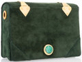 "Luxury Accessories:Accessories, Judith Leiber Green Suede Book Evening Bag. Fair Condition.6.5"" Width x 4.5"" Height x 2"" Depth. ..."