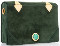 "Judith Leiber Green Suede Book Evening Bag Fair Condition 6.5"" Width x 4.5"" Height x 2"" Depth"
